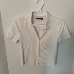 Cream Ribbed Button-up Collared Shirt